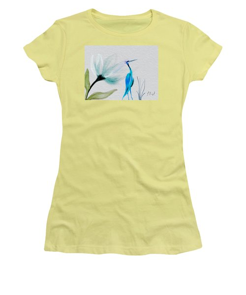 Crane And Flower Abstract Women's T-Shirt (Junior Cut) by Frank Bright