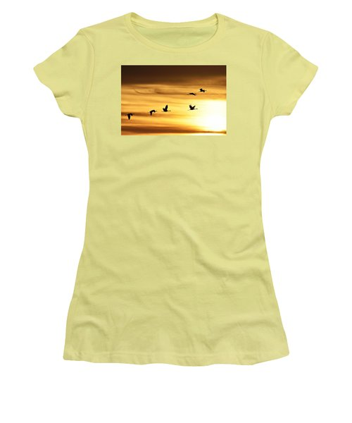 Women's T-Shirt (Junior Cut) featuring the photograph Cranes At Sunrise 2 by Larry Ricker