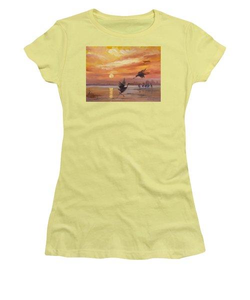 Cranes - Golden Sunset Women's T-Shirt (Athletic Fit)