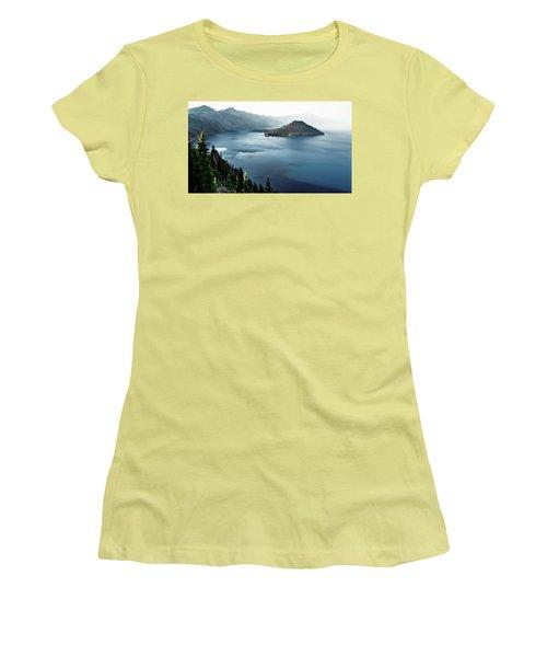 Crater Lake Under A Siege Women's T-Shirt (Junior Cut) by Eduard Moldoveanu