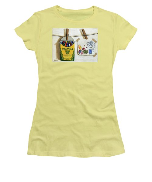 Women's T-Shirt (Junior Cut) featuring the painting Crayola Crayons And Drawing Realistic Still Life Painting by Linda Apple