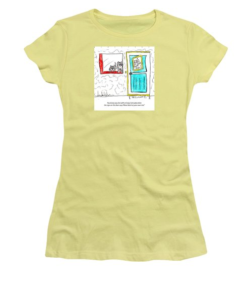 Crazy Cat Lady 0005 Women's T-Shirt (Junior Cut) by Lou Belcher