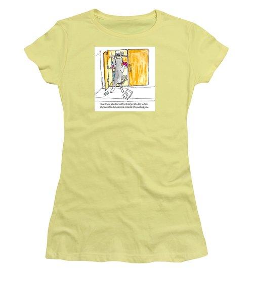 Crazy Cat Lady 001 Women's T-Shirt (Junior Cut) by Lou Belcher