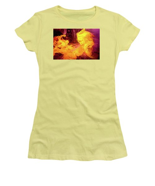Crazy Chase - Purple And Yellow Abstract Photography Women's T-Shirt (Junior Cut) by Modern Art Prints