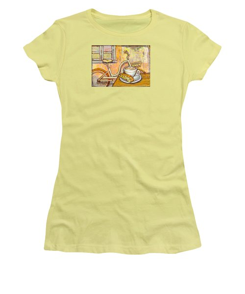 Cream Electra Town Bicycle With Cappuccino And Biscotti Women's T-Shirt (Athletic Fit)