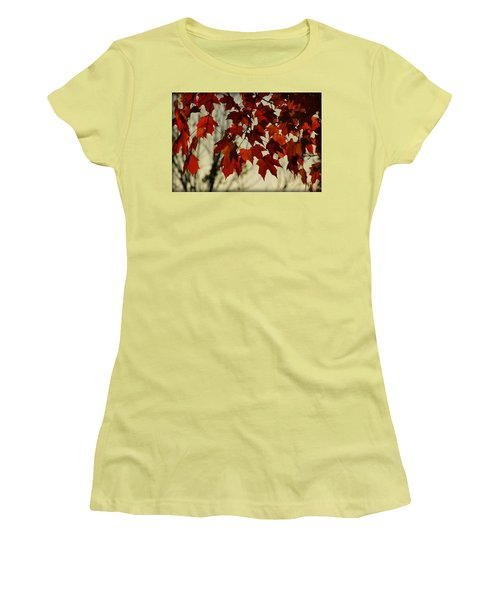 Women's T-Shirt (Junior Cut) featuring the photograph Crimson Red Autumn Leaves by Chris Berry