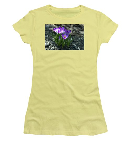 Women's T-Shirt (Junior Cut) featuring the photograph Crocus In Bloom #2 by Jeff Severson