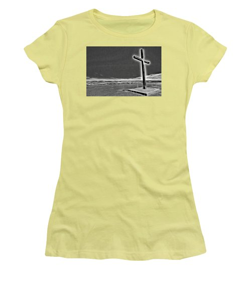 Cross On The Hill V2 Women's T-Shirt (Junior Cut) by Douglas Barnard