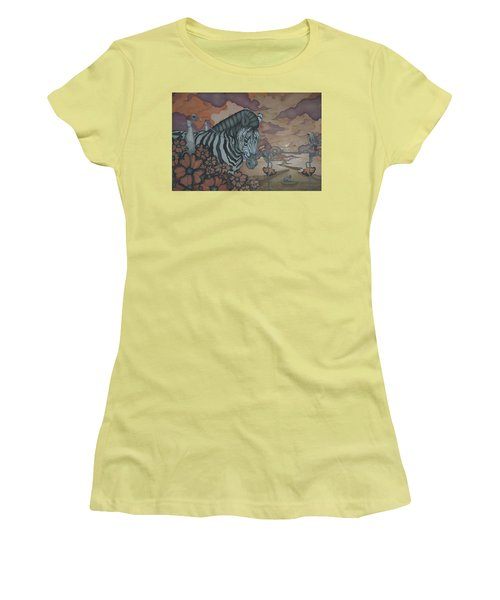 Women's T-Shirt (Junior Cut) featuring the painting Crossing The Mara by Andrew Batcheller