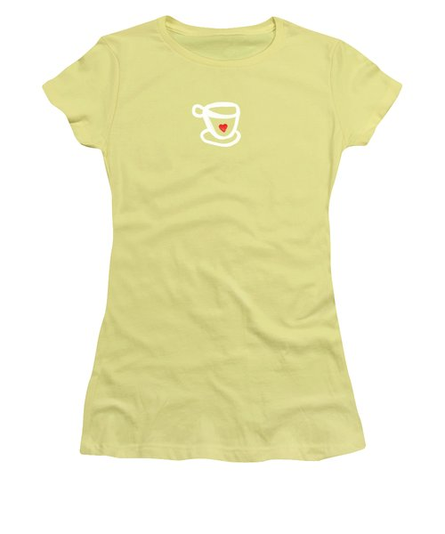 Women's T-Shirt (Junior Cut) featuring the painting Cup Of Love- Shirt by Linda Woods