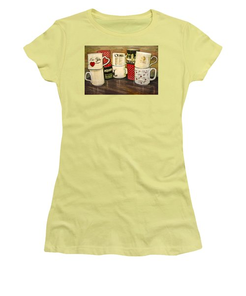 Women's T-Shirt (Junior Cut) featuring the painting Cups Of Memory by Ron Richard Baviello