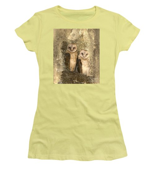 Curious Barn Owls Perched Women's T-Shirt (Athletic Fit)