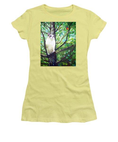 Curious Cat Women's T-Shirt (Athletic Fit)