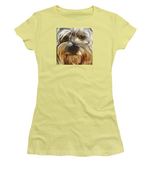 Women's T-Shirt (Junior Cut) featuring the painting Curly by Dragica  Micki Fortuna
