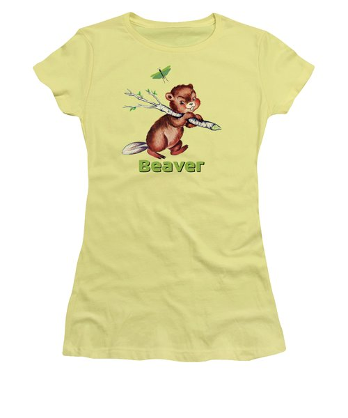 Cute Baby Beaver Pattern Women's T-Shirt (Junior Cut) by Tina Lavoie