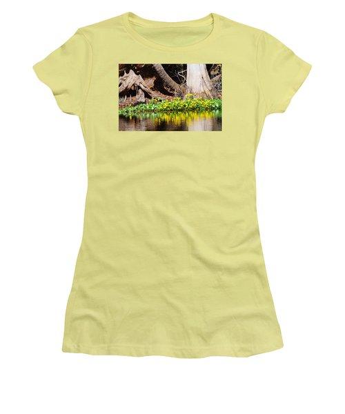 Cypress And Flower Reflections Women's T-Shirt (Junior Cut) by Warren Thompson