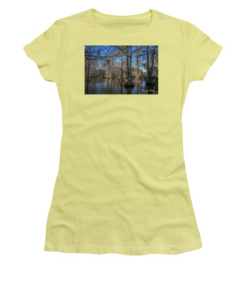 Women's T-Shirt (Junior Cut) featuring the photograph Cyprus Lake 2 by Gregory Daley  PPSA
