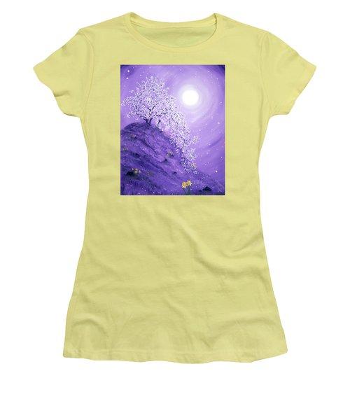 Daffodil Dawn Meditation Women's T-Shirt (Junior Cut) by Laura Iverson