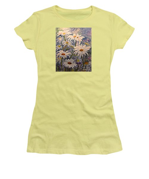 Women's T-Shirt (Junior Cut) featuring the painting Daisies Watercolor by AmaS Art