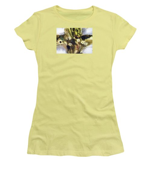 Women's T-Shirt (Junior Cut) featuring the painting Daisies by Ed Heaton
