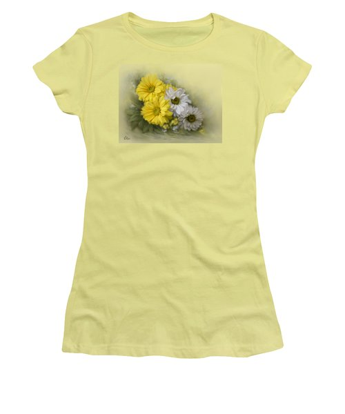 Women's T-Shirt (Junior Cut) featuring the painting Daisy Spring Bouquet by Bonnie Willis