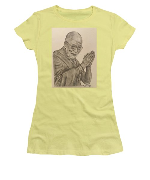 Dalai Lama Tenzin Gyatso Women's T-Shirt (Junior Cut) by Kent Chua