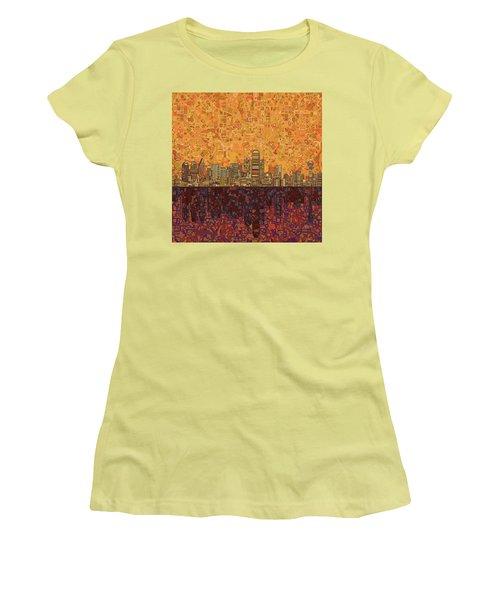 Dallas Skyline Abstract Women's T-Shirt (Junior Cut) by Bekim Art