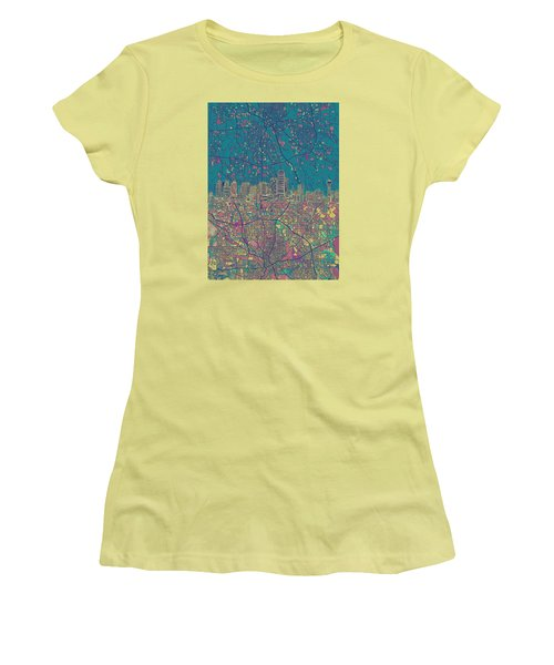Dallas Skyline Map Green Women's T-Shirt (Athletic Fit)