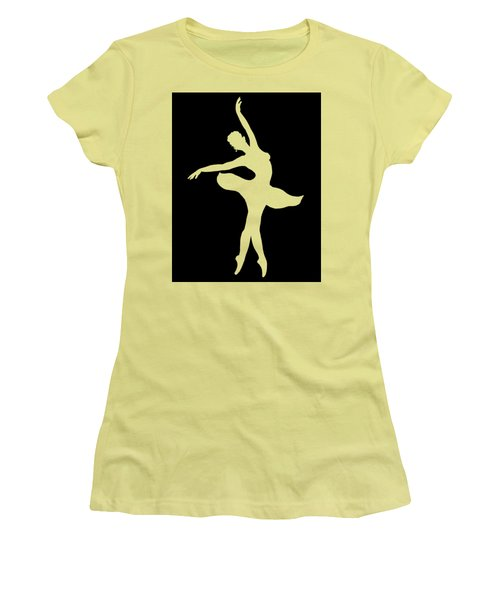 Dancing Ballerina White Silhouette Women's T-Shirt (Athletic Fit)