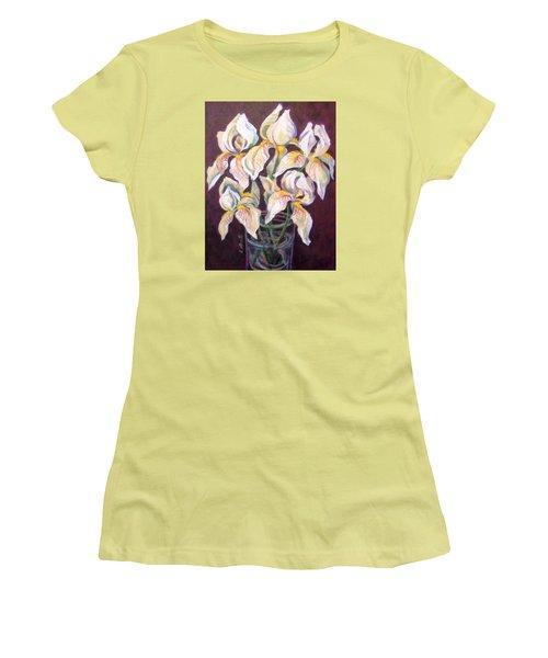 Women's T-Shirt (Junior Cut) featuring the painting Dancing Iris by Laura Aceto