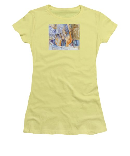 Women's T-Shirt (Junior Cut) featuring the painting Dappled Sunlight by Mary Haley-Rocks