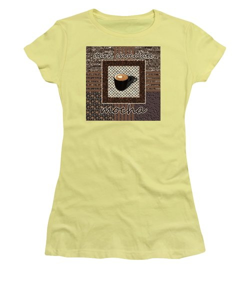 Women's T-Shirt (Athletic Fit) featuring the photograph Dark Chocolate Mocha - Coffee Art by Anastasiya Malakhova
