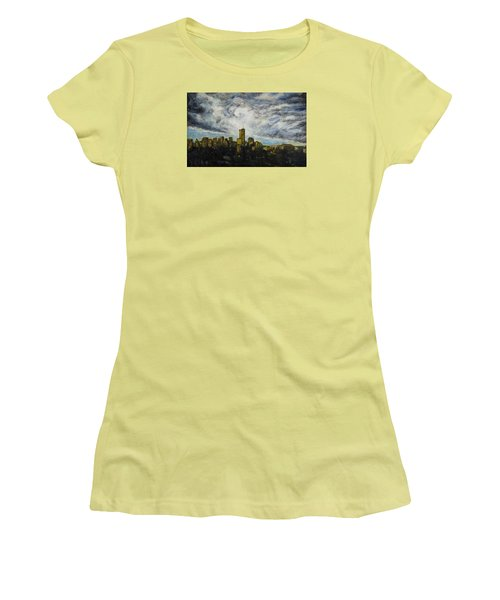 Women's T-Shirt (Junior Cut) featuring the painting Dark Clouds Approaching 2 by Ron Richard Baviello