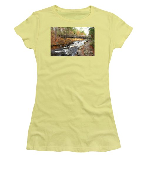 Women's T-Shirt (Junior Cut) featuring the photograph Dave's Falls #7480 by Mark J Seefeldt