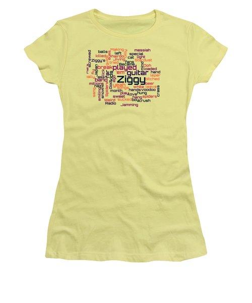 Women's T-Shirt (Junior Cut) featuring the digital art David Bowie - Ziggy Stardust Lyrical Cloud by Susan Maxwell Schmidt