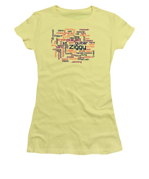 David Bowie - Ziggy Stardust Lyrical Cloud Women's T-Shirt (Athletic Fit)
