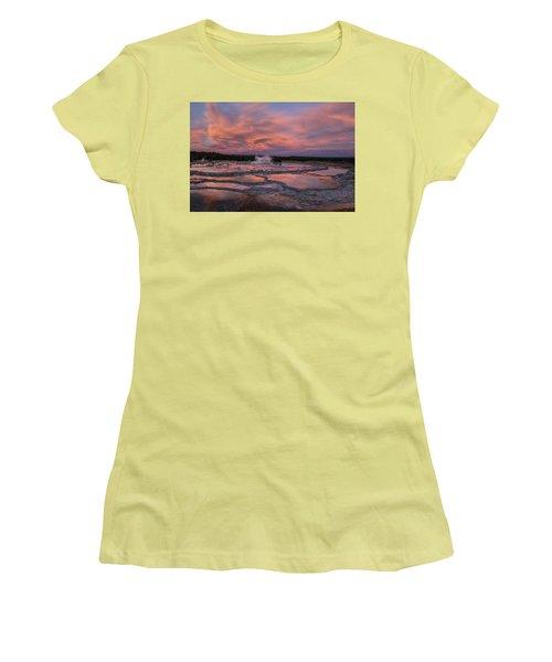Dawn At Great Fountain Geyser Women's T-Shirt (Junior Cut) by Roman Kurywczak