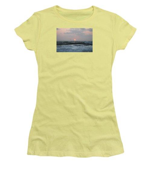 Women's T-Shirt (Junior Cut) featuring the photograph Dawn's Crashing Seas by Robert Banach