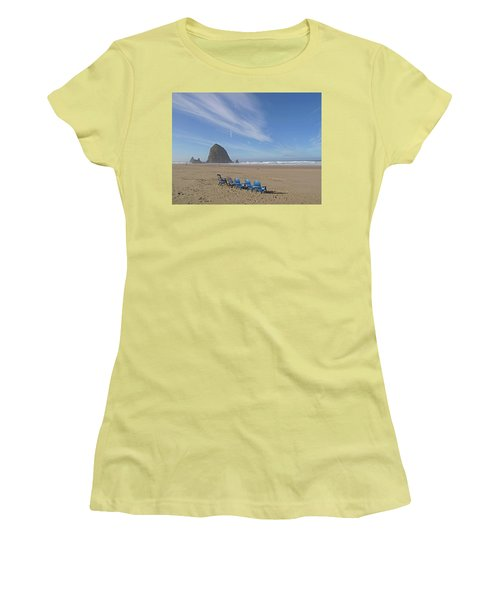 Day At Haystack Rock Women's T-Shirt (Junior Cut) by Suzy Piatt