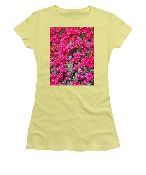 Dazzling Pink Flowers Women's T-Shirt (Athletic Fit)