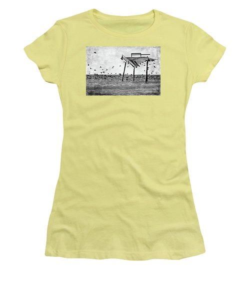 Women's T-Shirt (Junior Cut) featuring the photograph Death Of A Friend - Frisco Pier Outer Banks Bw by Dan Carmichael