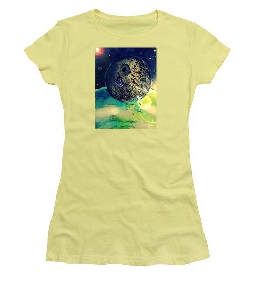 Death Star Illustration  Women's T-Shirt (Junior Cut) by Justin Moore
