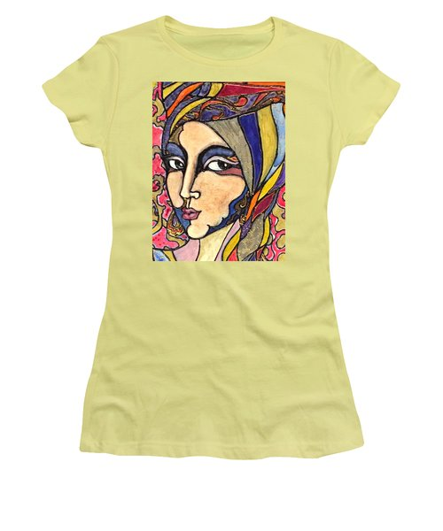Women's T-Shirt (Junior Cut) featuring the painting Decoface 3 by Rae Chichilnitsky