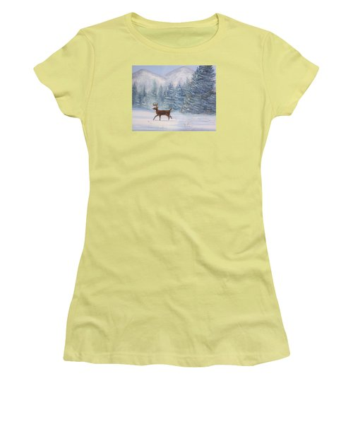 Deer In The Snow Women's T-Shirt (Junior Cut) by Denise Fulmer