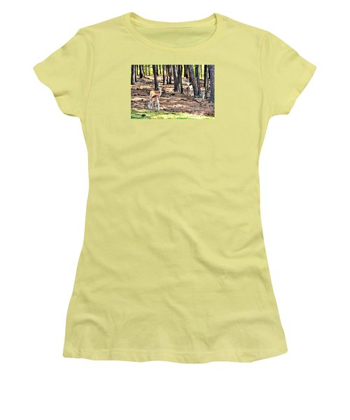 Deer In The Summer Forest Women's T-Shirt (Junior Cut) by James Potts