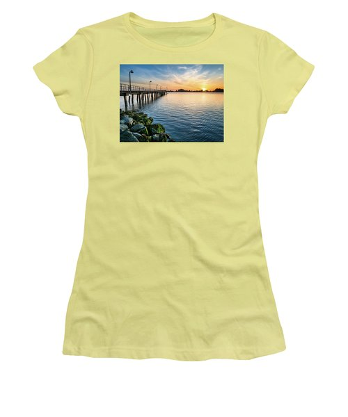 Women's T-Shirt (Junior Cut) featuring the photograph Del Norte Pier And Spring Sunset by Greg Nyquist