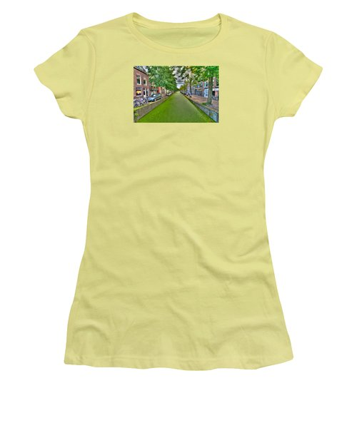 Women's T-Shirt (Junior Cut) featuring the photograph Delft Canals by Uri Baruch