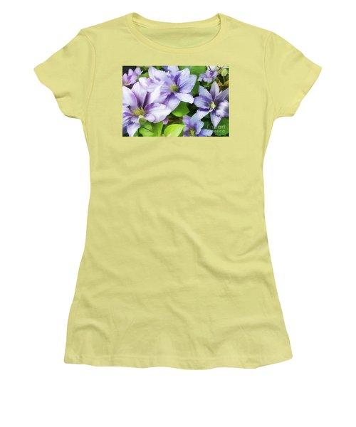 Delicate Climbing Clematis  Women's T-Shirt (Junior Cut) by Judy Palkimas