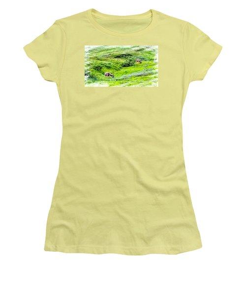 Women's T-Shirt (Junior Cut) featuring the photograph Denali National Park Caribou by Joseph Hendrix