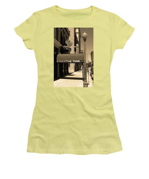 Women's T-Shirt (Junior Cut) featuring the photograph Denver Downtown Storefront Sepia by Frank Romeo